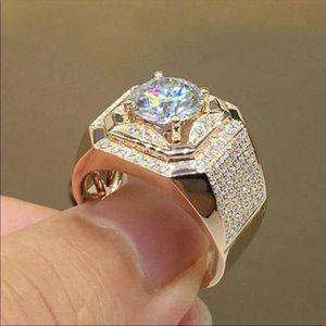 Men's rose gold icy bling ring